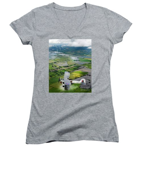 Women's V-Neck T-Shirt (Junior Cut) featuring the photograph A Swordfish Aircraft With The Royal Navy Historic Flight. by Paul Fearn