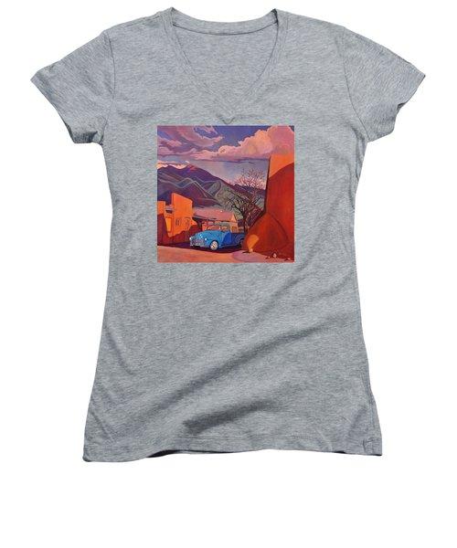 A Teal Truck In Taos Women's V-Neck T-Shirt (Junior Cut) by Art James West