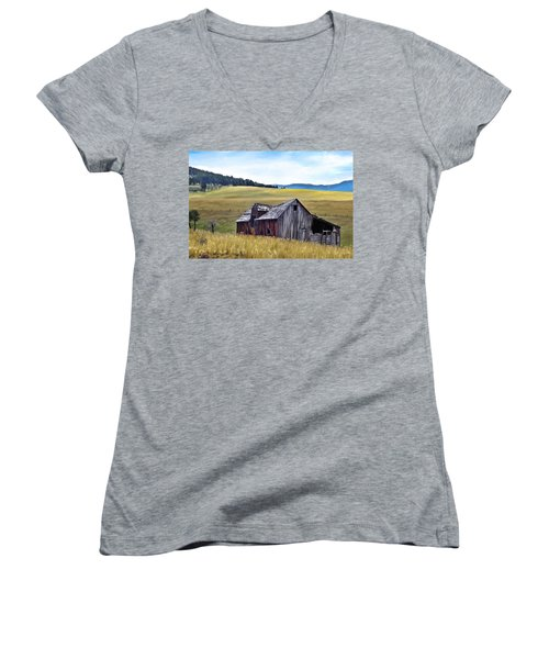 A Time In Montana Women's V-Neck T-Shirt (Junior Cut) by Susan Kinney