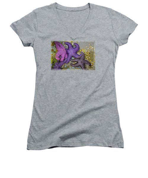 Women's V-Neck featuring the photograph A Touch Of Colour by Roxy Hurtubise
