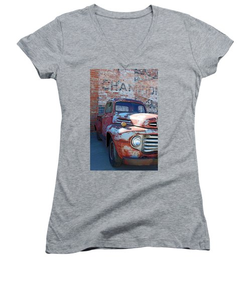 A Truck In Goodland Women's V-Neck T-Shirt (Junior Cut) by Lynn Sprowl
