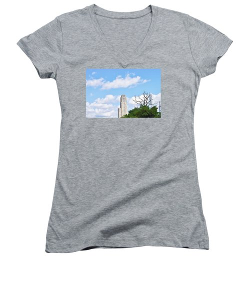 Women's V-Neck T-Shirt (Junior Cut) featuring the photograph A Unique Perspective by Jean Goodwin Brooks