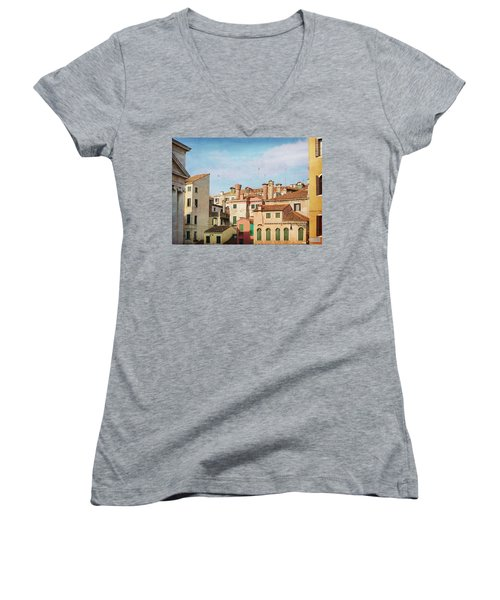 Women's V-Neck T-Shirt (Junior Cut) featuring the photograph A Venetian View by Brooke T Ryan