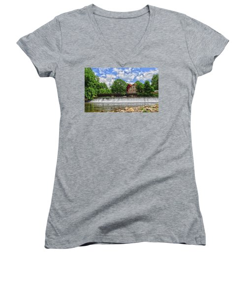Women's V-Neck T-Shirt (Junior Cut) featuring the photograph A View Of The Mill From The River by Debra Fedchin