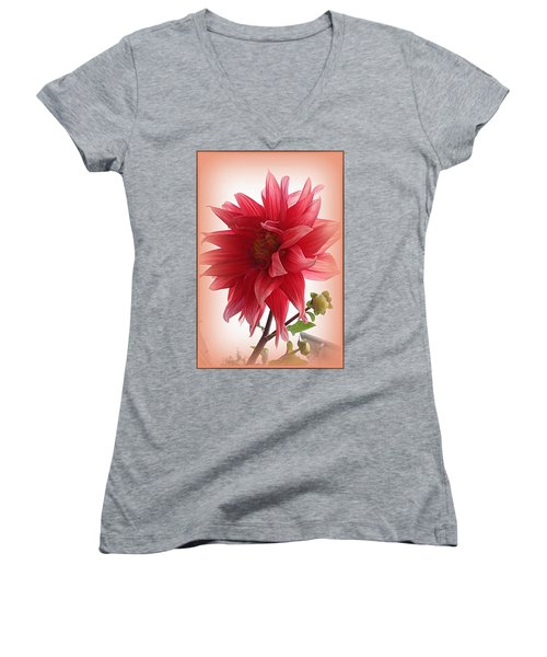 A Vision In  Coral - Dahlia Women's V-Neck T-Shirt (Junior Cut)