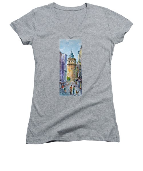 A Walk Around Galata Tower - Istanbul Women's V-Neck T-Shirt