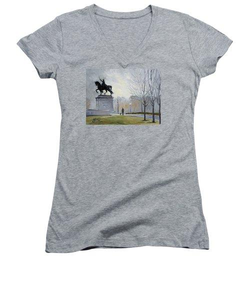 A Walk In Forest Park In St.louis Women's V-Neck T-Shirt (Junior Cut) by Irek Szelag