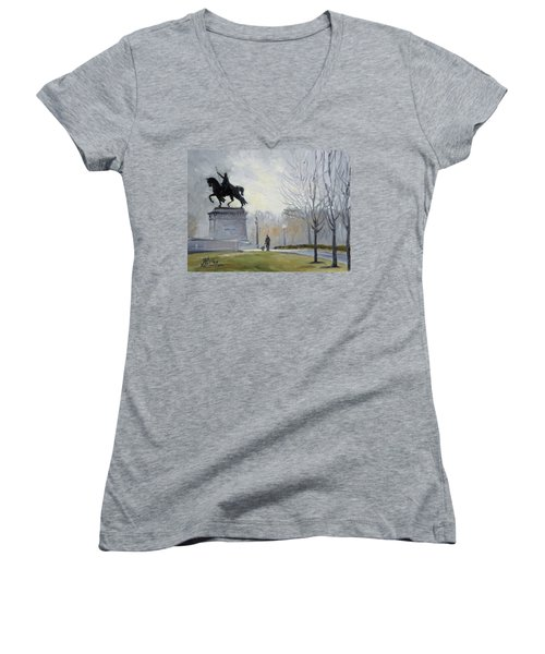 A Walk In Forest Park In St.louis Women's V-Neck T-Shirt