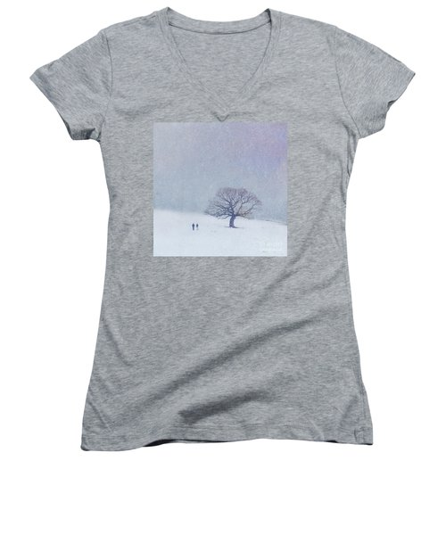 A Walk In The Snow Women's V-Neck (Athletic Fit)