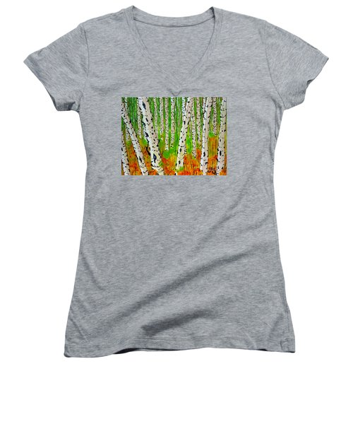 A Walk Though The Trees Women's V-Neck T-Shirt (Junior Cut) by Jackie Carpenter