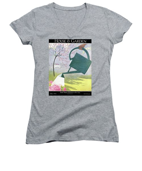A Watering Can Above Pink Roses Women's V-Neck