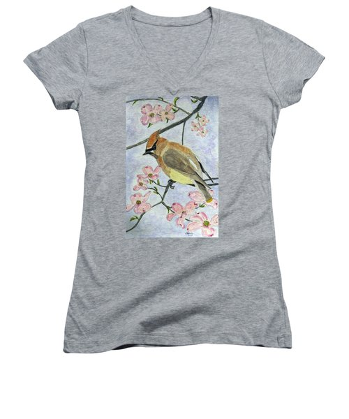 A Waxwing In The Dogwood Women's V-Neck
