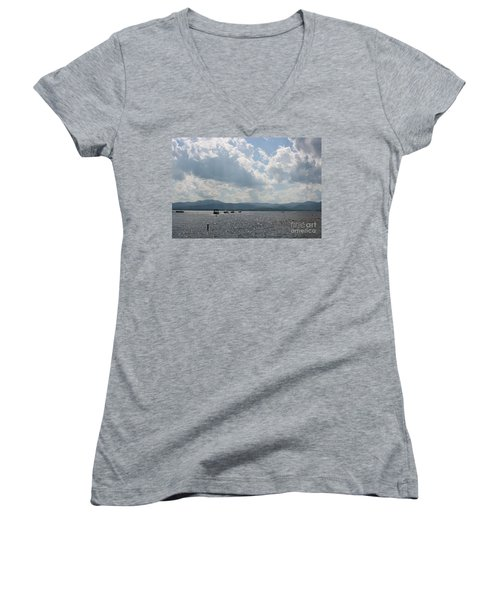 A Weekend On The Water Women's V-Neck T-Shirt (Junior Cut) by Barbara Bardzik