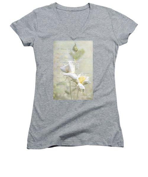 A White Rose Women's V-Neck T-Shirt (Junior Cut) by Linda Lees