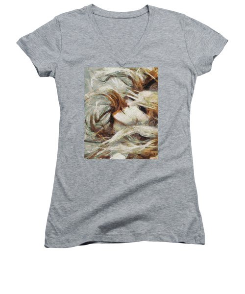 Women's V-Neck T-Shirt (Junior Cut) featuring the painting A Wild Dance by Joe Misrasi
