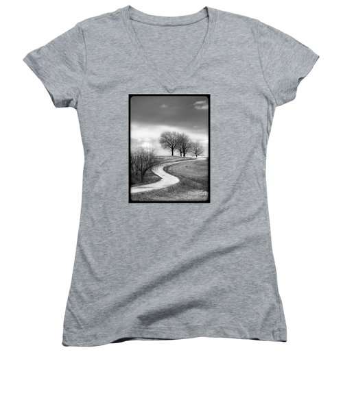 A Winding Country Road In Black And White Women's V-Neck