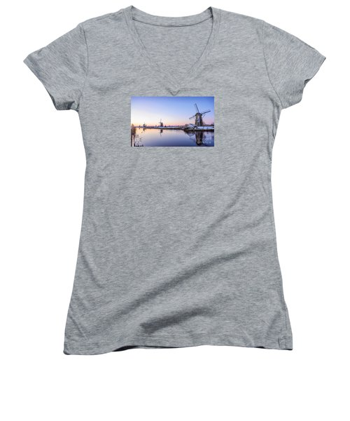A Cold Winter Morning With Some Windmills In The Netherlands Women's V-Neck T-Shirt (Junior Cut) by IPics Photography