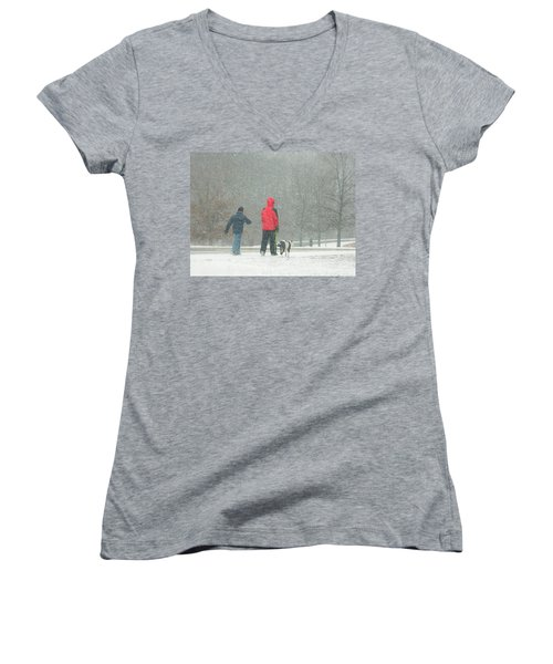 Women's V-Neck T-Shirt (Junior Cut) featuring the photograph A Winter Walk In The Park - Silver Spring Md by Emmy Marie Vickers