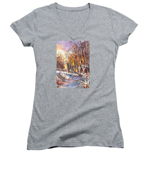 A Firey Winter Sunset Women's V-Neck (Athletic Fit)