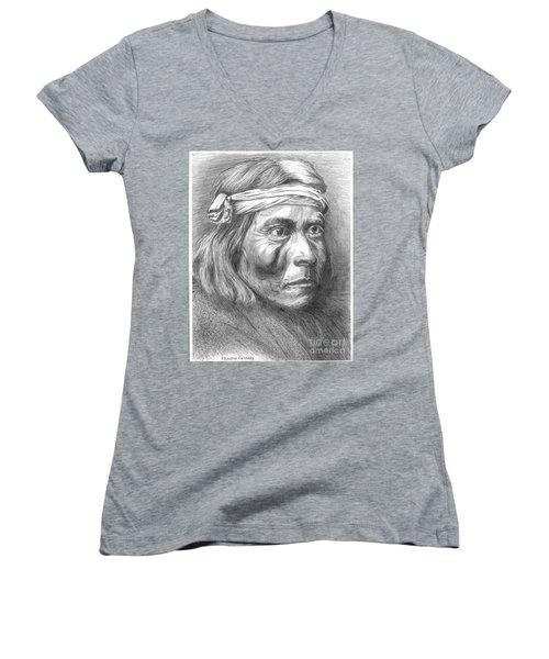 Shadow Catcher, A Zuni Governor Women's V-Neck T-Shirt (Junior Cut) by Bill Hubbard