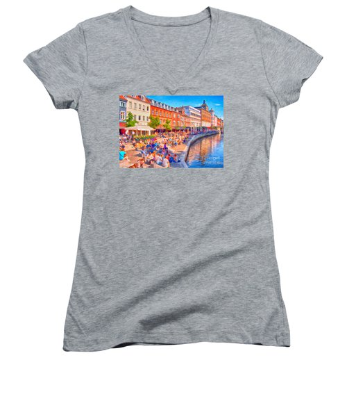 Aarhus Canal Digital Painting Women's V-Neck T-Shirt (Junior Cut) by Antony McAulay
