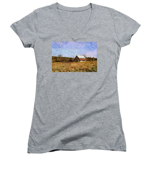 Women's V-Neck T-Shirt (Junior Cut) featuring the photograph Abandoned Barn In North Georgia by Vizual Studio