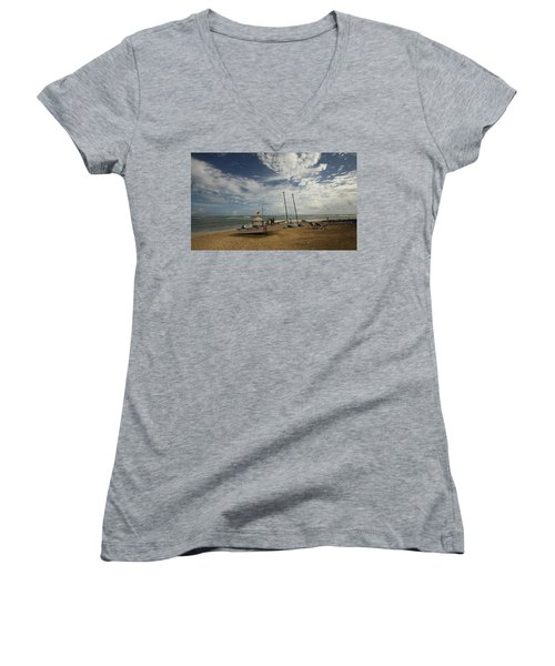 Abandoned Beach Women's V-Neck (Athletic Fit)