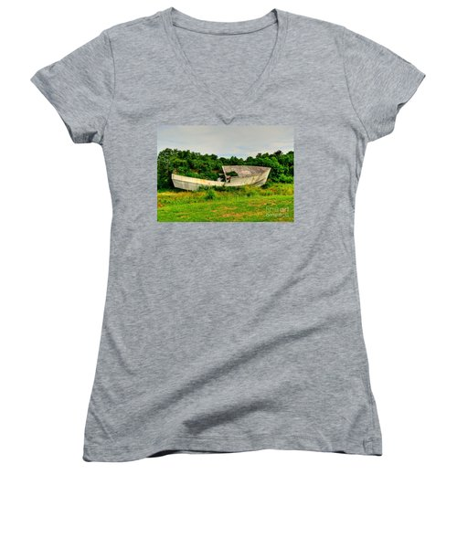 Women's V-Neck T-Shirt (Junior Cut) featuring the photograph Abandoned Boat by Kathy Baccari