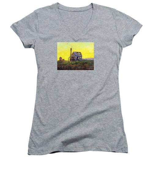 Abandoned  Farm Women's V-Neck T-Shirt (Junior Cut) by Lee Piper