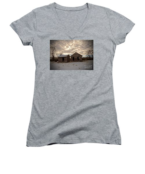 Abandoned History Women's V-Neck T-Shirt (Junior Cut) by Desiree Paquette