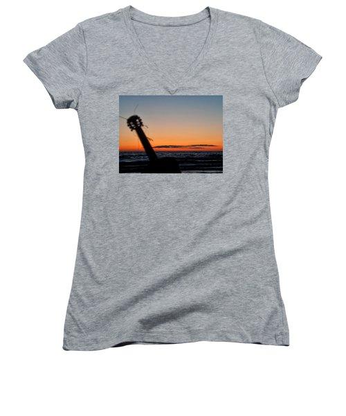 Acoustic Guitar On The Beach Women's V-Neck T-Shirt