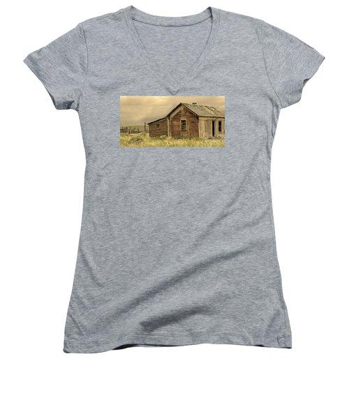 Women's V-Neck T-Shirt (Junior Cut) featuring the photograph Abandoned by Nick  Boren
