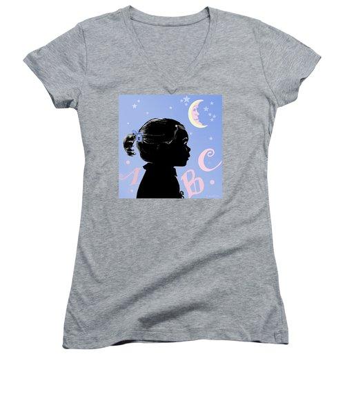 Women's V-Neck T-Shirt (Junior Cut) featuring the painting Abc - The Moon And Me by Carol Jacobs