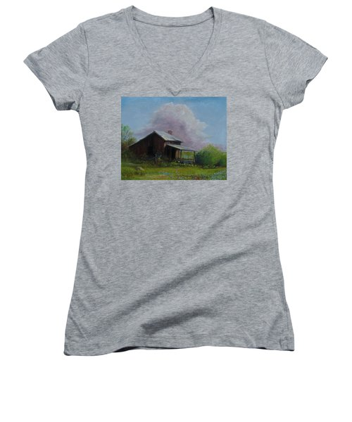 Women's V-Neck T-Shirt (Junior Cut) featuring the painting Abondoned Memories  by Gene Gregory