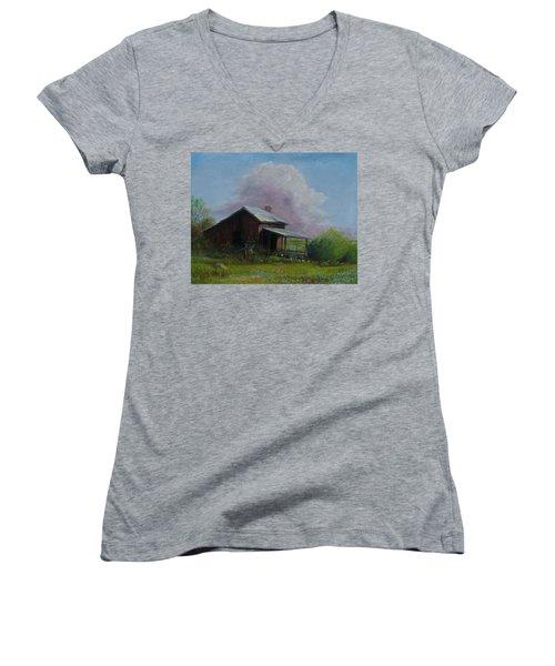 Abondoned Memories  Women's V-Neck T-Shirt (Junior Cut) by Gene Gregory