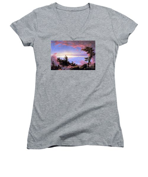 Above The Clouds At Sunrise By Frederick Edwin Church Women's V-Neck T-Shirt