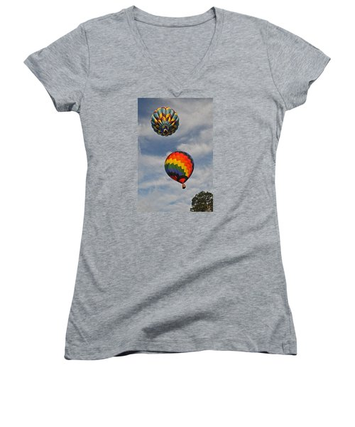 Women's V-Neck T-Shirt (Junior Cut) featuring the photograph Above The Treetop by Mike Martin