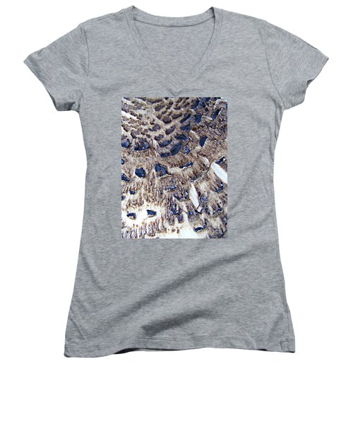 Women's V-Neck T-Shirt (Junior Cut) featuring the photograph Abstract Accidental Sapphires by Linsey Williams