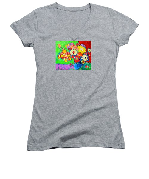 Abstract Colorful Flowers Women's V-Neck T-Shirt (Junior Cut) by Ana Maria Edulescu