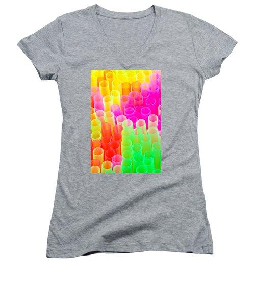 Abstract Drinking Straws #2 Women's V-Neck T-Shirt (Junior Cut) by Meirion Matthias