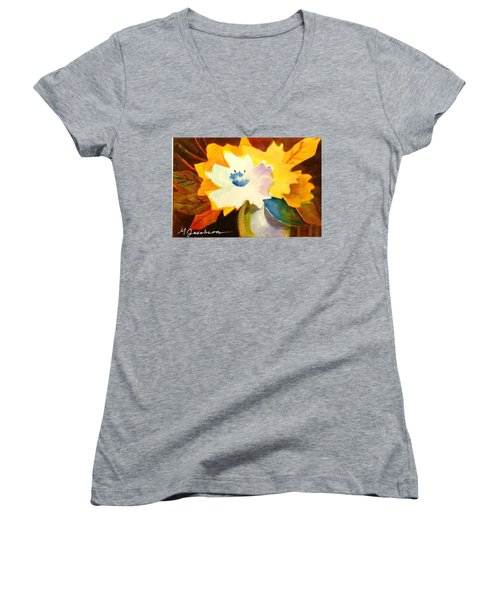 Abstract Flowers 2 Women's V-Neck T-Shirt (Junior Cut) by Marilyn Jacobson
