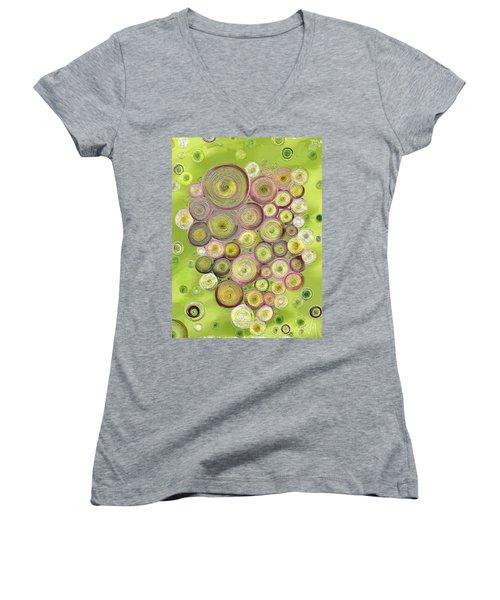 Abstract Grapes Women's V-Neck T-Shirt (Junior Cut) by Veronica Minozzi