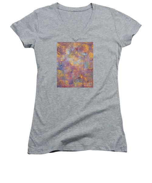 Women's V-Neck T-Shirt (Junior Cut) featuring the painting Abstract Impressions by Donna Dixon