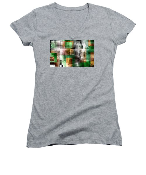 Women's V-Neck T-Shirt (Junior Cut) featuring the painting Abstract In Green by Curtiss Shaffer