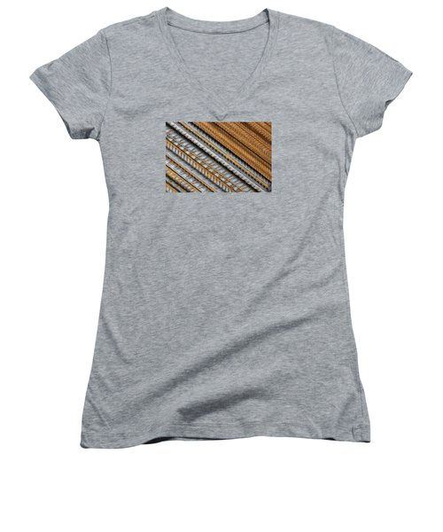 Abstract Metal Texture Pattern Women's V-Neck (Athletic Fit)
