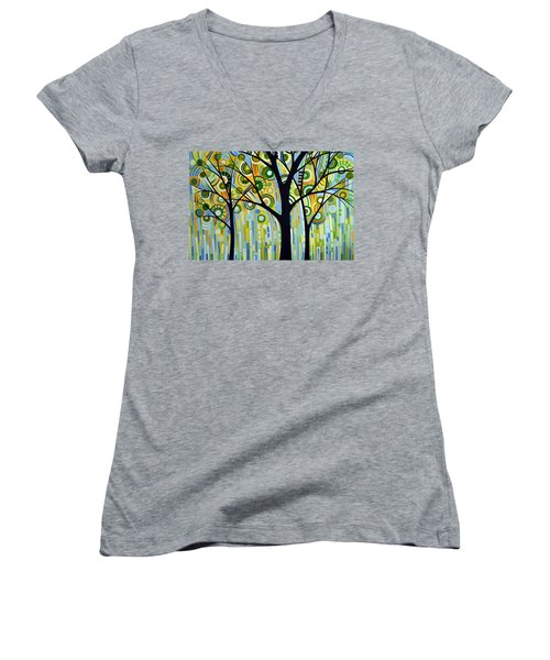 Women's V-Neck T-Shirt (Junior Cut) featuring the painting Abstract Modern Tree Landscape Spring Rain By Amy Giacomelli by Amy Giacomelli