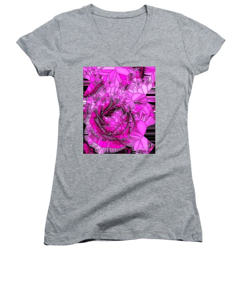 Abstract Pink Rose Mosaic Women's V-Neck (Athletic Fit)