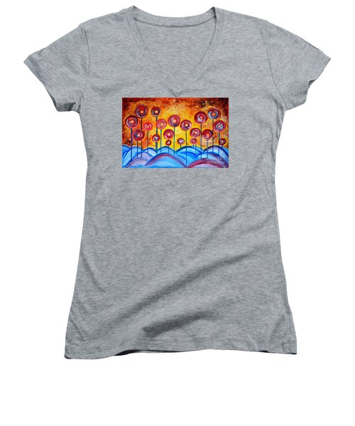Abstract Red Symphony Women's V-Neck T-Shirt