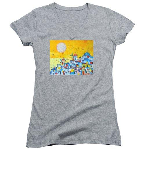Abstract Santorini - Oia Before Sunset Women's V-Neck T-Shirt (Junior Cut) by Ana Maria Edulescu
