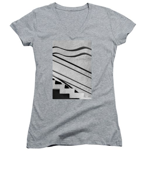 Abstract Stairs Women's V-Neck (Athletic Fit)